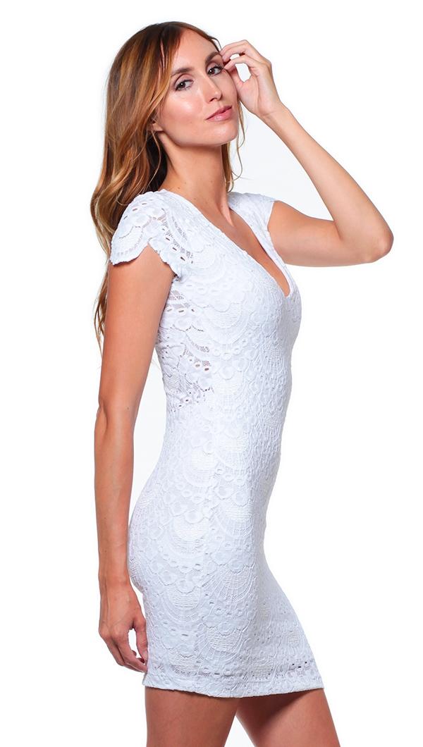8326af87a6 Nightcap White Spanish Lace Deep V Cap Sleeve Mini Dress