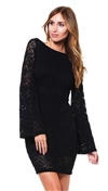 Nightcap Black Spanish Lace Priscilla Mini Dress
