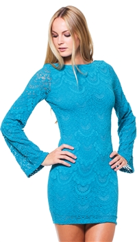 Nightcap Turquoise Spanish Lace Priscilla Mini Dress