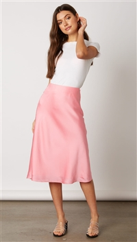 Cotton Candy Pink Satin Midi Skirt