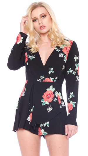 Cotton Candy LA Black Long Sleeve Floral Romper