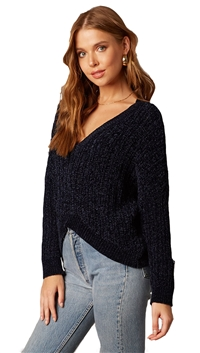 Cotton Candy LA Navy Chenille Sweater