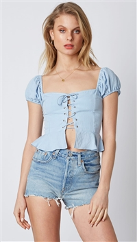 Cotton Candy Blue Peplum Lace Top