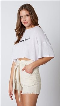 Cotton Candy White Mon Cheri Crop Top