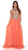 Ema Savahl Coral Sheer Long Empire Dress