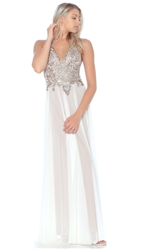Ema Savahl White & Gold 'Aurora' Gown
