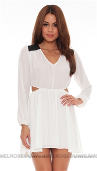 Donna Mizani White Cutout Flounce Dress