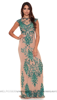 Ema Savahl Green V Front Aurora Long Dress