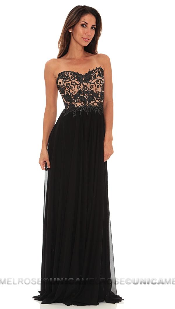Ema Savahl Black Sheer Waist Strapless Long Dress