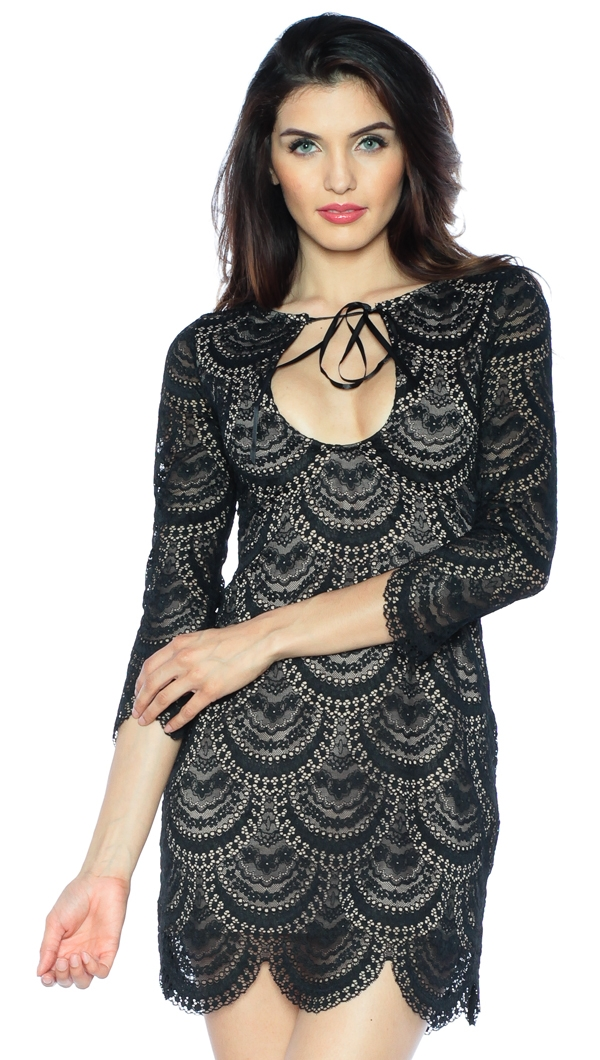 9a4629ed1c5e9 For Love & Lemons Black & Nude Rosalita Mini Dress