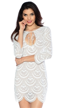 For Love & Lemons White & Nude Rosalita Mini Dress