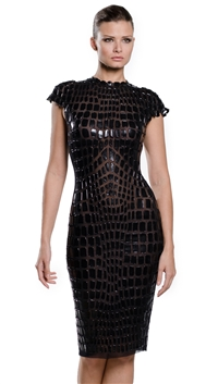 Ema Savahl Black Crocodile Cocktail Dress