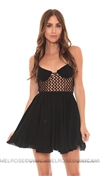 Indah Black Crotchet Bustier Short Dress