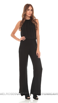 Indah Black Rayon Crepe Open Back Long Playsuit