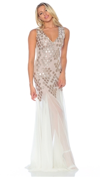 Ema Savahl Ivory & Nude 'Beehive' V-Neck Maxi Dress