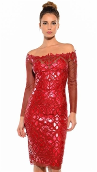 Ema Savahl Red 'Mediterranean Tile' Long Sleeve Knee Length Dress