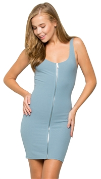 Makers of Dreams Blue Full Zip Tank Dress