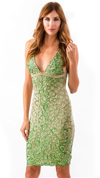 Baccio Couture Green Daisy Mini Dress
