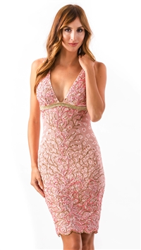 Baccio Couture Pink Daisy Mini Dress