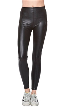 David Lerner Black Seamless Leatherette High Rise Leggings