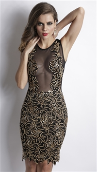 Baccio Couture Black & Gold 'Damet' Caviar Hand Painted Mini Dress