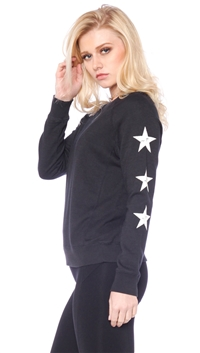 David Lerner Black 'Stars on Sleeve' Raglan Pullover