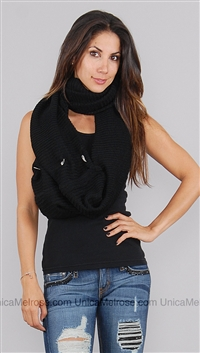 Donni Charm Black Scarf with Silver Wings