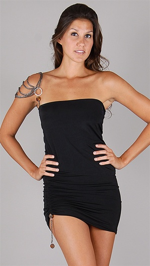 Savee Couture Black Asymmetirc Neck Chain Dress