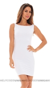 Savee White Sleeveless Open Back Chains Mini Dress