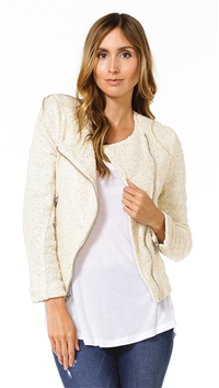 Generation Love Sand with Silver Long Sleeve Multi Zip Moto Jacket