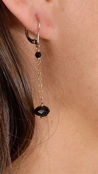 Dylan A. Designs Black Onix Earring, Gold Filled with Semi Precious Stones