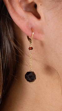 Dylan A. Designs Maroon Garnet Earrings, Gold Filled with Semi Precious Stones