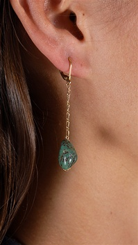 Dylan A. Designs Green Turquoise Earrings, Gold Filled with Semi Precious Stones