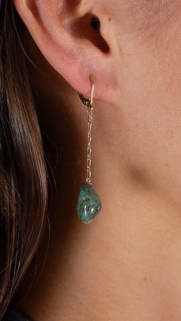 Green Turquoise gemstone earring
