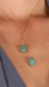 Dylan A. Designs Green Turquoise Necklace, Gold Filled with Semi Precious Stones