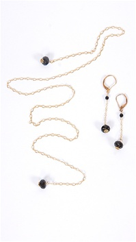 Dylan A. Designs Black Onix Earring and Necklace Set, Gold Filled with Semi Precious Stones