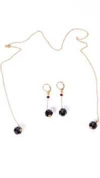 Dylan A. Designs Maroon Garnet Earring and Necklace Set, Gold Filled with Semi Precious Stones