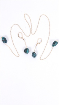 Dylan A. Designs Green Turquoise Earring and Necklace Set, Gold Filled with Semi Precious Stones