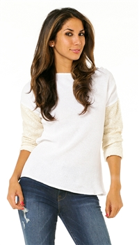 Generation Love Emily White Boat Neck with Shimmer Sand 3/4 Sleeve Sweater