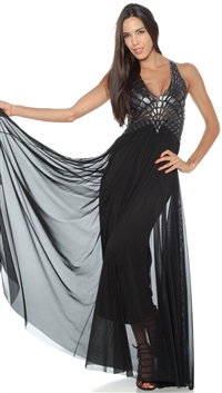 Ema Savahl Black 'Crocodile' Halter Style Gown