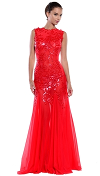 Ema Savahl Crimson Long Bustier Cocktail Dress