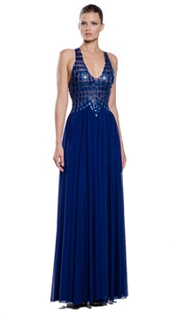 Ema Savahl Blue Crocodile Cocktail Dress