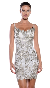 Ema Savahl Silver Cocktail Dress
