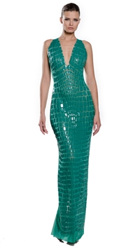 Ema Savahl Emerald Glossy Crocodile Cocktail Dress