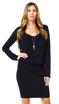Riller & Fount Black Betsey Long Sleeve V Neck Crop Top