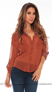 Free People Rust Border Easyrider Blouse