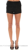 Free People Black Vegan Leather Shorts