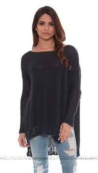 Free People Washed Navy Haiku Pullover Sweater