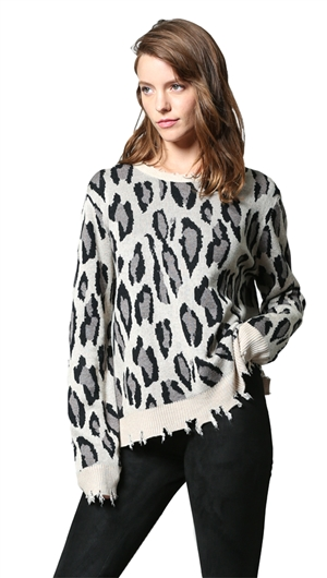 Unica Exclusive Distressed Animal Print Sweater
