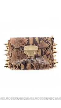 Ventidue Tan Snake Print Gold Studded Converitble Clutch